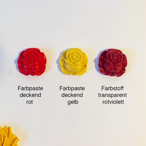Rosen aus Giessharz, gelb und rot