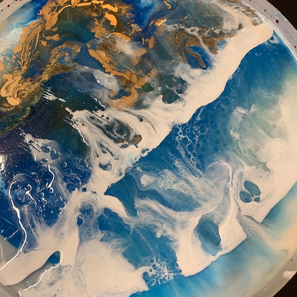 Kunstbild aus Epoxidharz Blau Wellen Gold